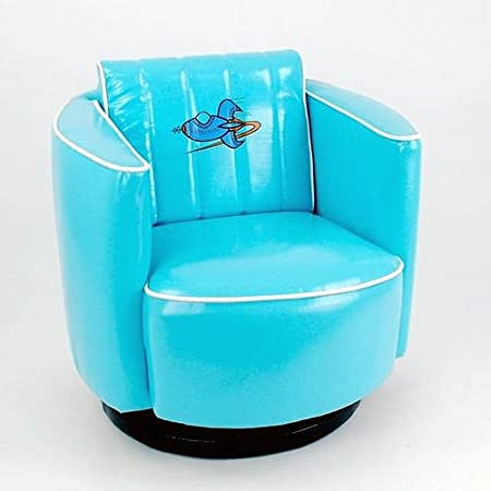 Blue Vinyl Kids Swivel Chair Rocket Space Age Design Adorable Furniture