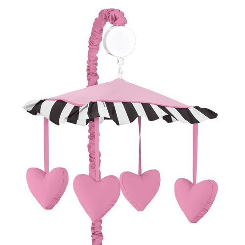 Pink Hearts, Black And White Stripe Paris Musical Baby Crib Mobile By Sweet Jojo Designs