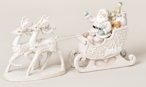 Good Tidings Creamy White 12-inch Glittered Santa Riding His Sleigh with 2 Reindeer Table Top Christmas Decoration Figure by Melrose