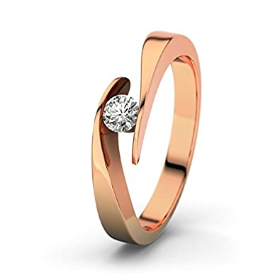 21DIAMONDS Women's Ring Summertime SI1 0.15 CT Brilliant Cut Diamond Engagement Ring 18 K Rose Gold Engagement Ring