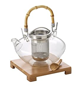 BonJour Zen 42-Oz. Glass Teapot with Stand & Scoop, Stainless Steel by BonJour