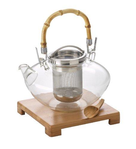 Best Review Of BonJour Zen 42-Oz. Glass Teapot with Stand & Scoop, Stainless Steel