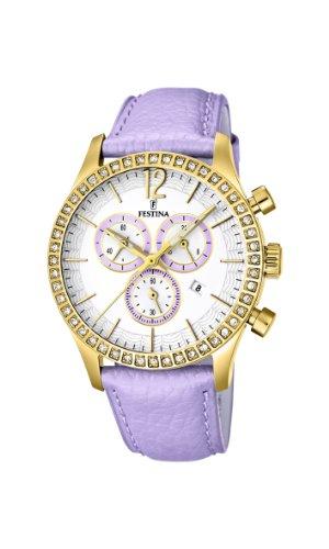Festina F16605/3 - Reloj cronógrafo de cuarzo para mujer con correa de piel, color rosa