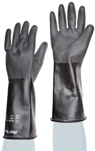 Showa Best 878R Unlined Butyl Glove, Rough Grip, Rolled Cuff, Chemical Resistant, 25 mils Thick, 14