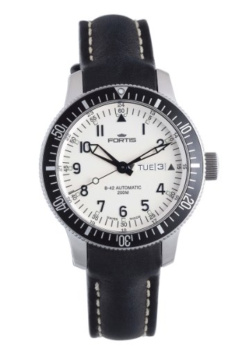 Fortis Men's 648.10.12 L.01 B-42 Diver White Dial Automatic Date Black Leather Watch