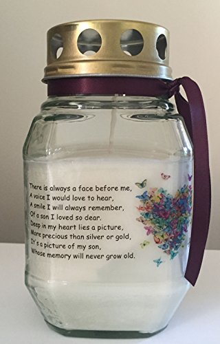Memorial Candle - In Loving Memory Of My Son - Remembrance Candle - Graveside