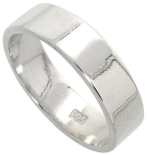Sterling Silver 6mm (1/4 in.) Plain Flat Wedding Band-10