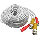 20M 65ft. White Pre-made All-in-one BNC Video And Power Cable Wire With Connector DC 2.1mm For CCTV Surveillance...