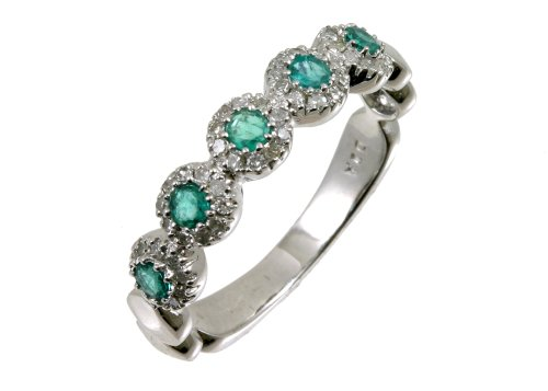 Eternity Ring, 9ct White Gold Diamond and Emerald