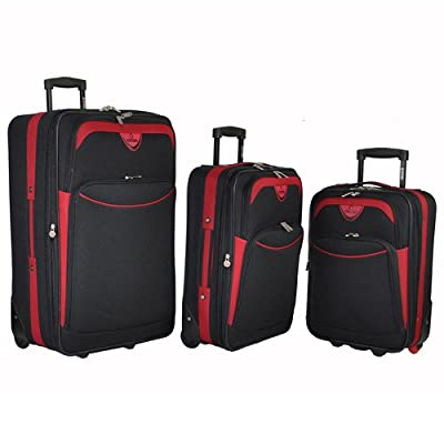 3 Piece Suitcase Set Suitcases 5 Cities Miami Luggage Travel - Black / Red