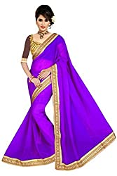 Khushi Fashion Women's Georgette Embroidered Saree - 105_Purple
