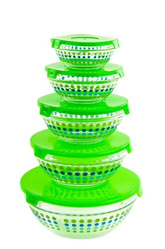 All Purpose Glass Bowls and Food Storage Containers 10 Pcs Set - Glass Lunch Bowls Set with Snap Tight Green Lids (MultiColor Polka Dots) (Microwavable Mixing Bowl Set compare prices)