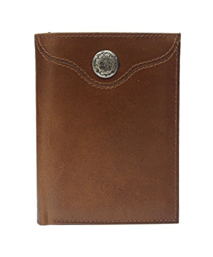 98002T-BRN - Men Western Rodeo Floral Concho Tri-fold Full grain Leather Wallet