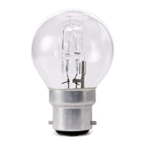 10 x Opus 42w = 60w Golf Ball BC B22 Bayonet Cap Long Life Clear Eco Halogen Light Bulbs Dimmable Energy Saving Lamps Pack by Opus Lighting Technology