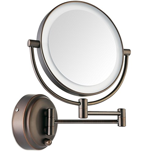 miusco-wall-mounted-lighted-makeup-mirror-two-sided-7x-magnification-adjustable-led-8-inch-bronze