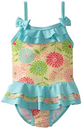 ABSORBA Baby-Girls Infant Floral Swimsuit One Piece, Multi, 24