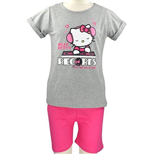 Mädchen Kurz-Schlafanzug - Hello Kitty grau/rosa erhältlich in vers. Größen (122/128; 134/140; 146/152) (134/140)