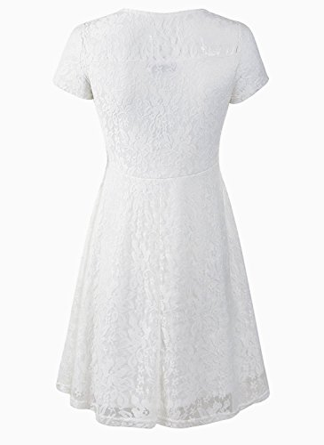 Amoluv Women Round Neck Short Sleeve Pleated Lace Slim Dress White