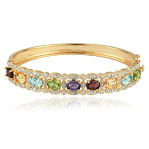 Yellow Gold Plated Sterling Silver Multi-Gemstone and Diamond Bangle Bracelet