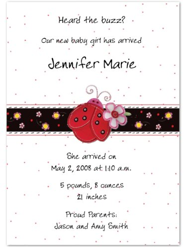 Ladybug Birth Announcements - Set Of 20 front-1073463