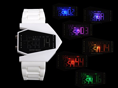 Egoodbest Band Watch Elegant Plane Style Digital Display Led Digital Sports Silicone Wrist Watch Led Colorful Light
