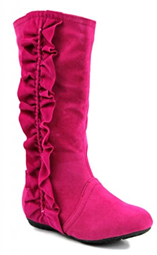 Kali Footwear Girl'S Event Jr. Faux Suede Ruffle Boots 10 front-590371
