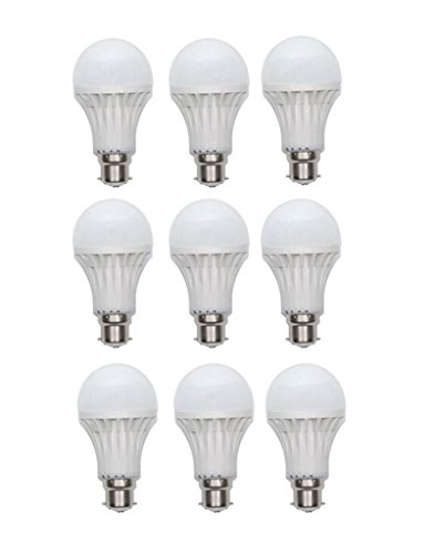 7W LED Bulb B22 White (pack of 9)