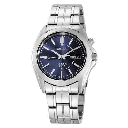 Seiko Men's SMY111 Silver Stainless-Steel Quartz Watch with Blue Dial
