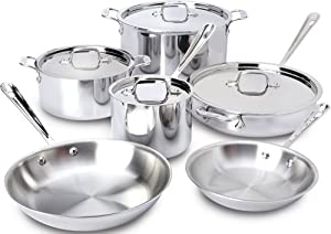 All-Clad 401488R Stainless Steel Tri-Ply Bonded Dishwasher Safe 10-Piece Cookware Set, Silver