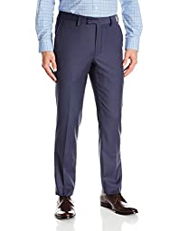 Louis Raphael Men\'s Slim Fit Flat Front Wool Blend Dress Pant, Dusk Blue,32W x 30L