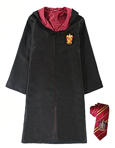 Cohaco Harry Potter Gryffindor/Ravenclaw/Slytherin/Hufflepuff Deluxe Robe with Tie for Adult (M, (Female Harry Potter Costume)