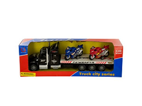 Kole Friction-Powered Semi-Truck with Motorcycles Set (Motorcycle Toy Trailer compare prices)