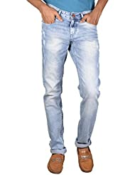 LIght Blue Men's Relaxed Tapered Dark Ruffle Used Wash Ffreak Jeans For Mens