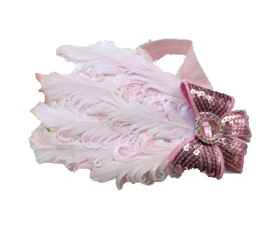 Baby Feder Strass Pailletten bowknot Headwear Stirnband FH08 Baby rosa