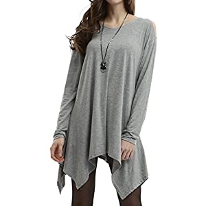 Doublju Women Sexy Cut Out Shoulder 3/4 Sleeve Top GRAY,M