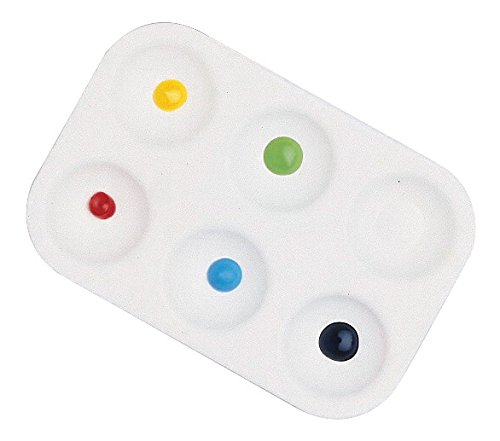 School Smart Plastic Paint Tray with 6 Wells - 3 1/2 x 5 1/4 - Pack of 12 - White - 1