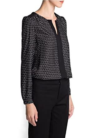 'Mango Women's Star And Polka-Dot Flowy Blouse, Black, 6