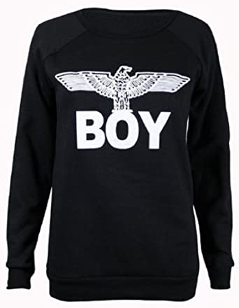 Womens New Army Boy Eagle Front Printed Ladies Long Sleeve Round Crew Neck Stretch Sweatshirt T-Shirt Top Black Size 8-10