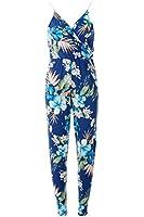 Ladies Slinky Cami Floral Print Wrap Over Neck Jumpsuit UK Size 8-14