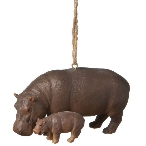 Mother and Baby Hippo Holiday Christmas Ornament Set of 2