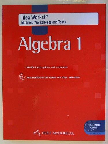 Holt Mcdougal Algebra 1 Idea Works Modified Worksheets Tests