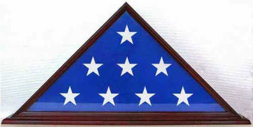 5' X 9.5' Flag Case for Veteran / Funeral / Burial Flag - with Stand Base, Dark Cherry Finish, SOLID WOOD