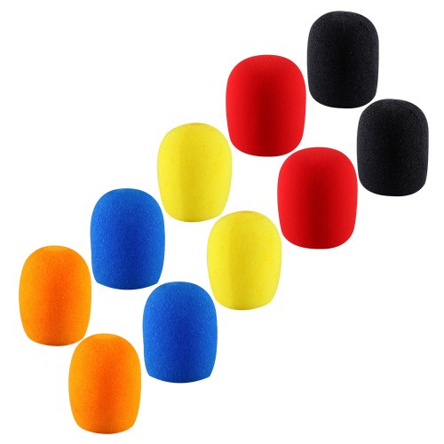2Sets Of 5Pcs Different Color Long Term Microphone Windscreen Sponge Foam Cover Shield Protection