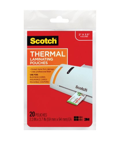 3M 5 Mil Thick Scotch Thermal Pouches Business Card 3.75 x 2.37-Inch, Pack of 20, (TP5851-20) (Laminating Machine Small compare prices)