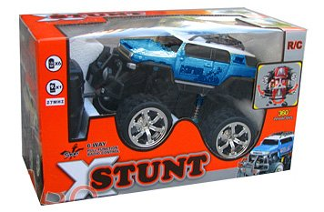 XStunt Radio Controlled 1/14 Scale 360 Spin Stunt Jeep inc. Controller - Blue