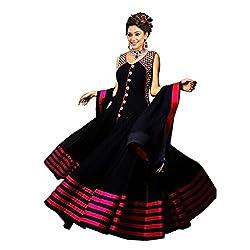 Yeoja Creation Black Embroidered Fancy Dress(Black_Fresize