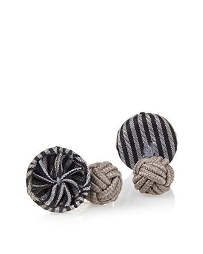J. McLaughlin Men's Black & Dark Grey Stripe Rosette Cufflinks