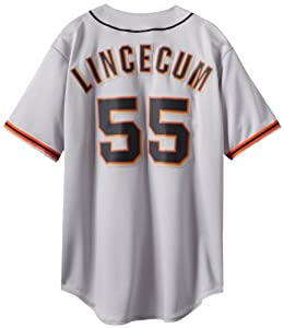 MLB Mens San Francisco Giants Tim Lincecum Gray Short Sleeve 6 Button Synthetic... by Majestic