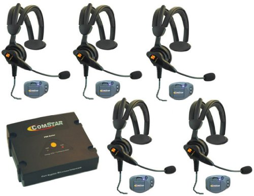 Comstar Ultralite Wireless Headsets - 5 Users - For Referees, Coaches And Sports Teams