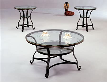 Brand New 3-pk Jessica Coffee Table (1)and End Table (2) Cocktail set with Glass Table Top